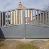 Installation d'un portail aluminium thermolaqué gris chiné motorisé - faveraye machelle