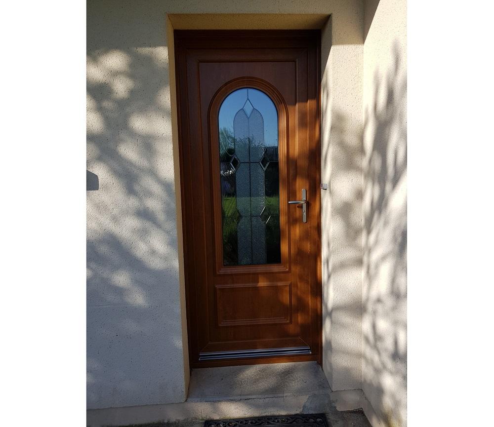 Porte d'entrée PVCcoloris chêne doré